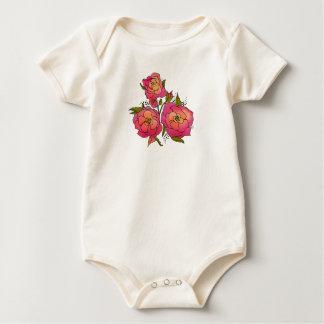 Ropa color de rosa retra body para bebé