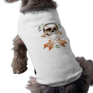 Ropa Cráneo-Guitarra-Blanca del mascota del rosa Playera Sin Mangas Para Perro