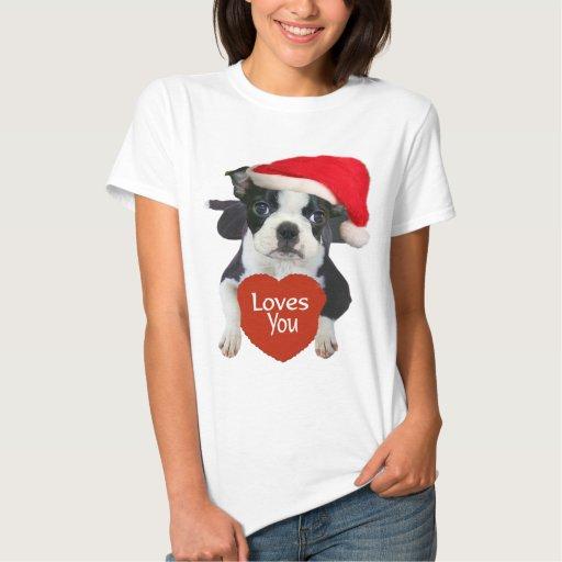 Ropa de Boston Terrier Santa Playera