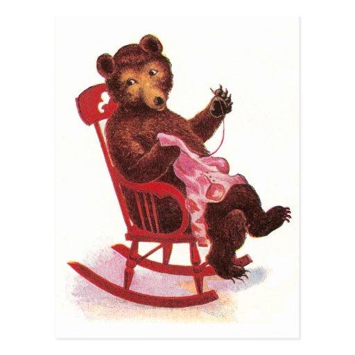 Ropa de costura del oso de peluche tarjetas postales
