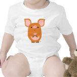 Ropa de encargo del bebé del cerdo tímido del dibu camiseta