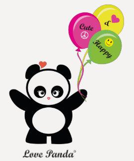 Ropa de las señoras del raglán de Panda® del amor Playeras