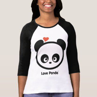 Ropa de las señoras del raglán de Panda® del amor Remera
