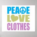 Ropa del amor de la paz impresiones