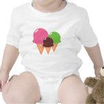 Ropa del bebé de los conos de helado camiseta