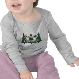 Ropa del bebé de los saludos de la estación camiseta