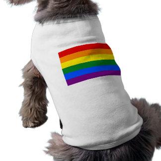 Ropa del mascota con la bandera del arco iris de L Playera Sin Mangas Para Perro