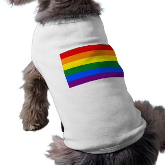 Ropa del mascota con la bandera del arco iris de L Camisetas De Perrito