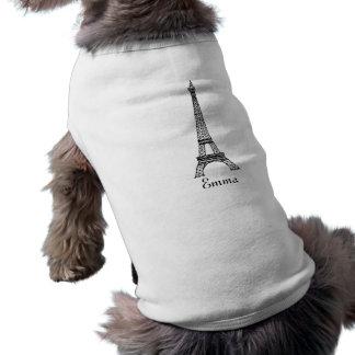 Ropa del mascota de la torre Eiffel Camisetas De Perrito