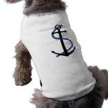 Ropa del mascota del ancla del verano camisetas de perro