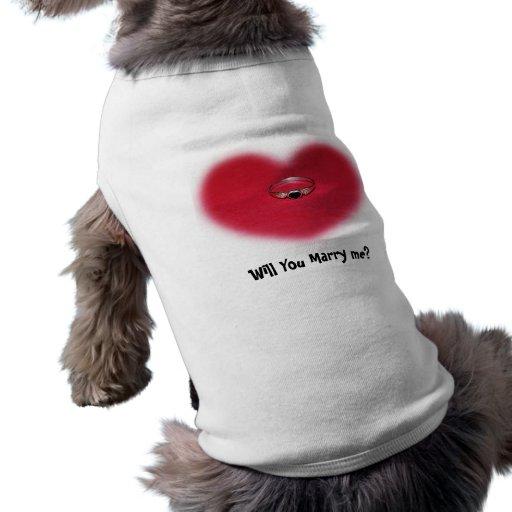 Ropa del mascota del anillo del corazón playera sin mangas para perro