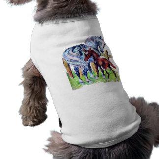 Ropa del mascota del caballo de la madre y del beb playera sin mangas para perro