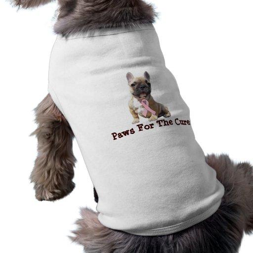 Ropa del mascota del cáncer de pecho del dogo fran playera sin mangas para perro