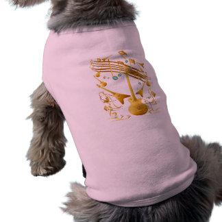 Ropa del mascota del fiesta de la guitarra del oro playera sin mangas para perro