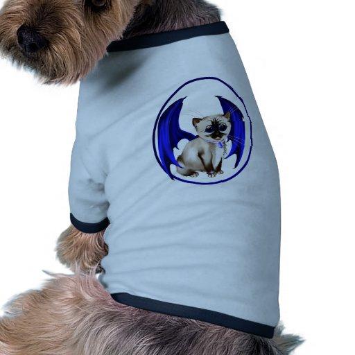 Ropa del mascota del gatito del dragón camiseta con mangas para perro