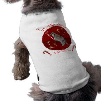Ropa del mascota del mapache del navidad playera sin mangas para perro