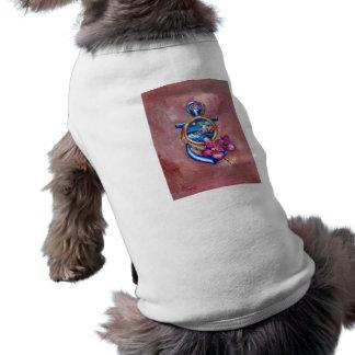 Ropa del mascota del tatuaje del ancla playera sin mangas para perro