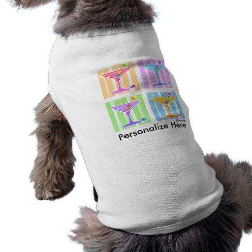 Ropa del mascota - martinis retros del arte pop playera sin mangas para perro