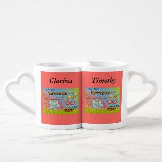 Ropa divertida del humor del vintage que cuelga la taza para parejas