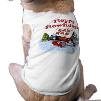 Ropa feliz del mascota de la casa de pan de jengib playera sin mangas para perro