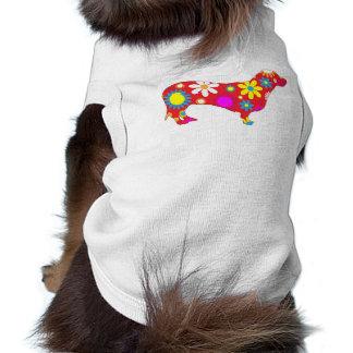Ropa floral enrrollada del perro casero del dachsh playera sin mangas para perro
