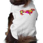 Ropa floral enrrollada del perro casero del dachsh camisetas de perrito