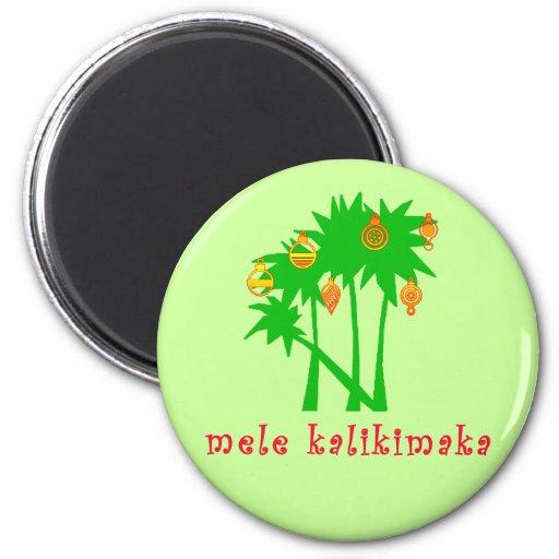 Ropa hawaiana del navidad de Mele Kalikimaka Imán Redondo 5 Cm