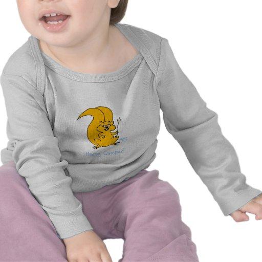 Ropa infantil del bebé de la ardilla divertida lin camiseta