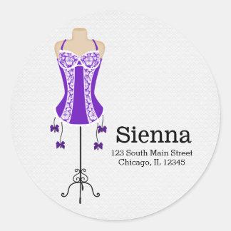 Ropa interior de la moda (púrpura) pegatina redonda