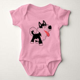 Ropa linda del bebé del husky siberiano del dibujo playera