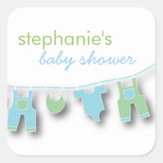 Ropa linda del bebé en la línea para la fiesta de calcomanía cuadradas personalizada