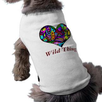 Ropa loca del mascota del corazón playera sin mangas para perro