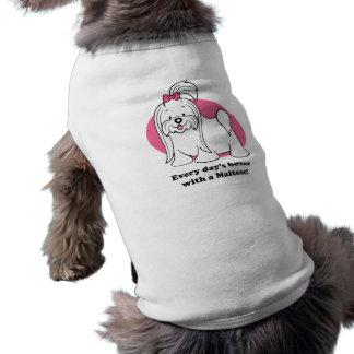 Ropa maltesa del mascota del dibujo animado lindo playera sin mangas para perro