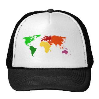 Ropa multicolora del esquema del mapa del mundo gorra