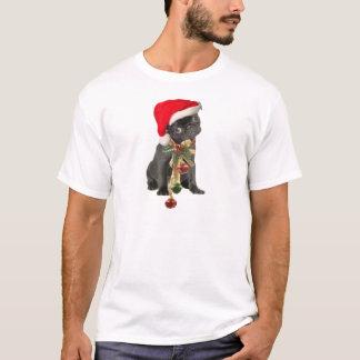 Ropa negra de la diversión del navidad del perrito playera
