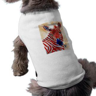Ropa patriótica del mascota de la cebra playera sin mangas para perro