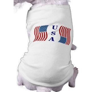 Ropa patriótica del mascota playera sin mangas para perro