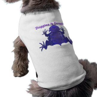 Ropa púrpura del perro de la rana playera sin mangas para perro