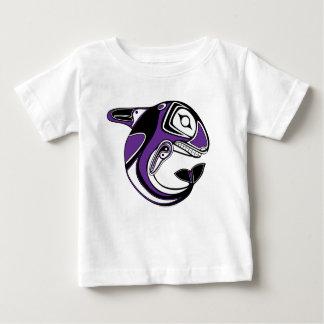 Ropa púrpura del tótem de la ballena del niño/del playera de bebé