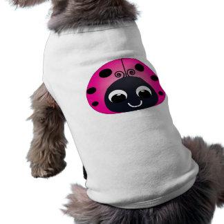 Ropa rosada del mascota de la mariquita playera sin mangas para perro