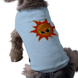 Ropa sonriente del mascota de la cara del fuego ca playera sin mangas para perro