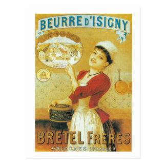 Ropa tradicional del vintage de la mujer francesa postal