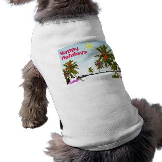 Ropa tropical del perro de los días de fiesta playera sin mangas para perro