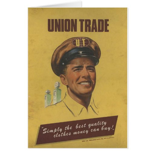 Ropa vieja del comercio de la unión del anuncio tarjeta de felicitación