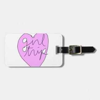 Ropa y accesorios del viaje del chica etiquetas para maletas