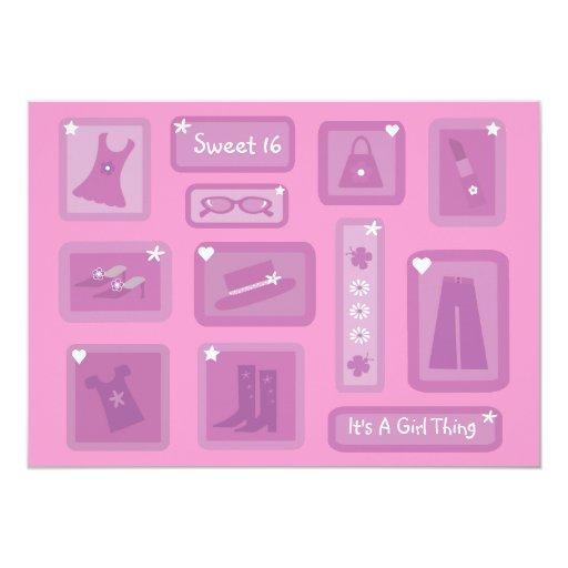 """Ropa y accesorios lindos rosa y púrpura del dulce invitación 5"""" x 7"""""""