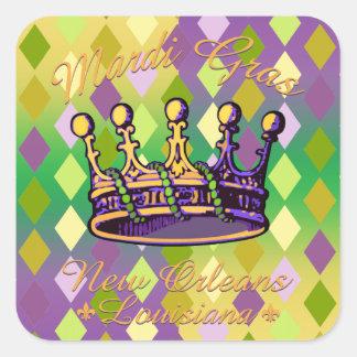 Ropa y regalos de la corona del carnaval calcomanía cuadrada personalizada