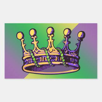 Ropa y regalos de la corona del carnaval rectangular pegatina