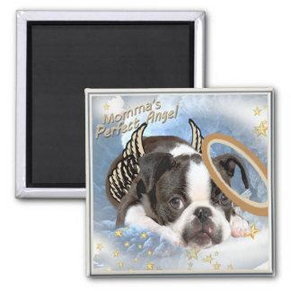 Ropa y regalos del ángel de Boston Terrier Imán Cuadrado