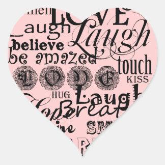 Ropa y regalos del consejo de la vida del texto de calcomanía de corazón